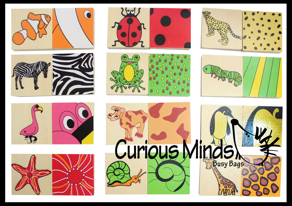 CLEARANCE - SALE - Wood Animal Pattern Sorting Memory Game