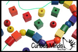 Wood Lacing Beads Busy Bag - Perfect fine motor learning activity for toddlers and preschoolers.  Montessori Wood Toy