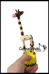 Wooden Collapsing Thumb Dancing Push Puppet Animals
