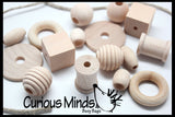 SALE - Medium-Large Beginner Natural Wood Beads with Thick/Sturdy Lace - Toddler Lacing, First Lacing, Jumbo Beads, Montessori, Natural, Waldorf