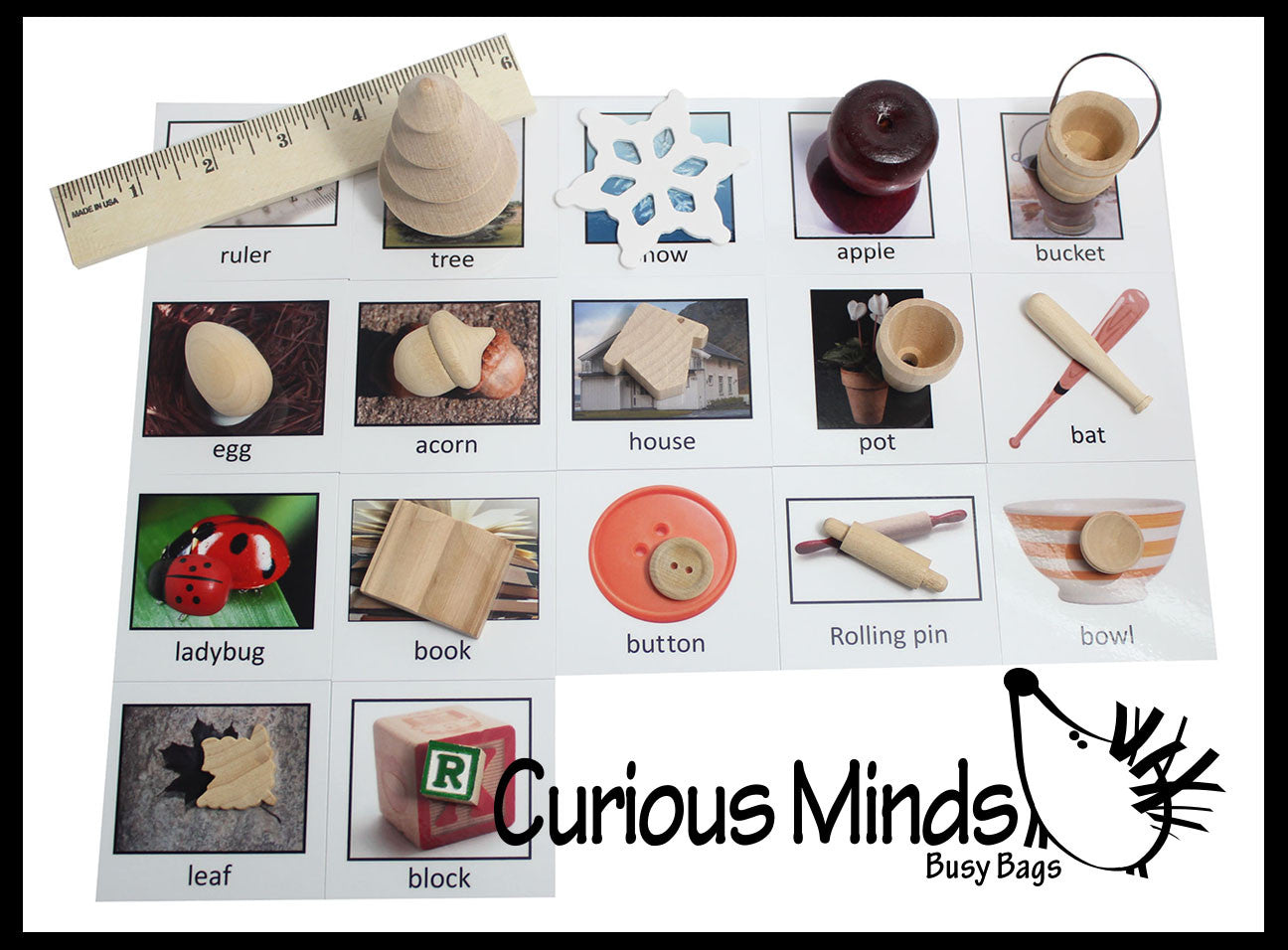 Montessori Object Match with Cards- Miniature Objects with Matching Cards - 2 Part Cards.  Montessori learning toy, language materials
