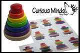 Wood Stacking Rainbow Tower with Pattern Cards