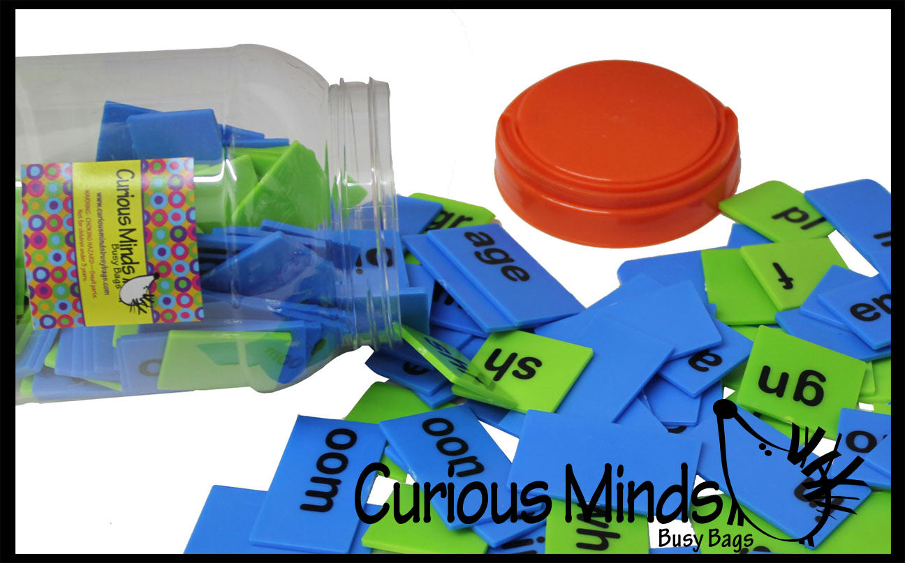 CLEARANCE - SALE - Word Family Tiles in a Jar - Blends, Digraphs, Consonants and ending sounds - Language Arts Teacher Supply