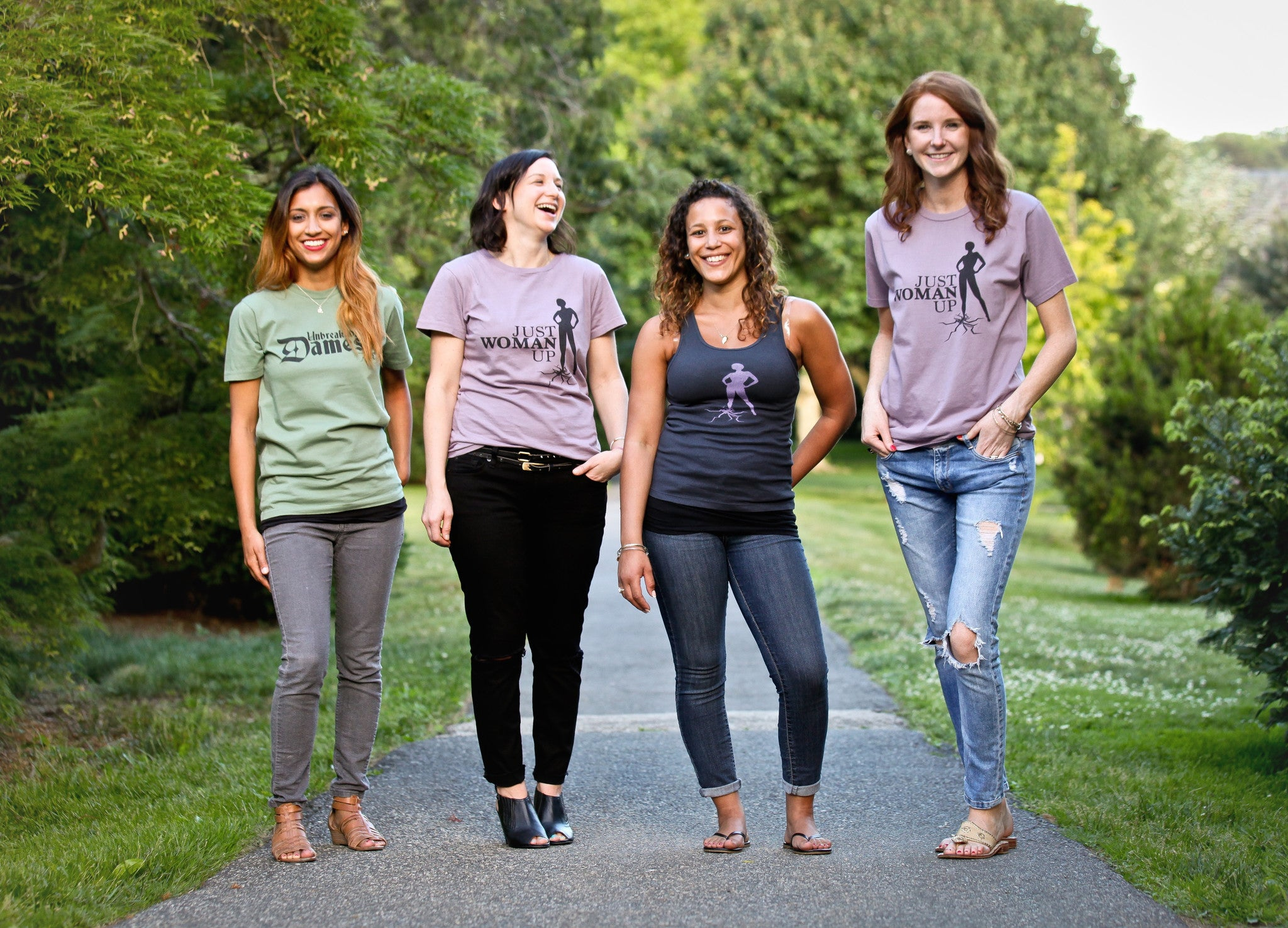 Organic Grasshopper Unbreakable Dames Tee, Eggplant Just Woman Up Tees, & Soft Black Tank Top