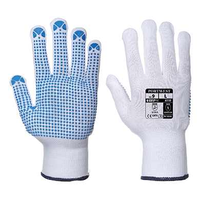 Portwest A110 Nylon Polka Dot PVC Gloves