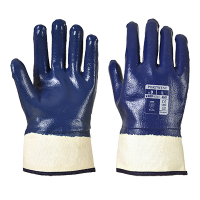 Portwest A302 Fully Dipped Nitrile Safety Cuff Gloves