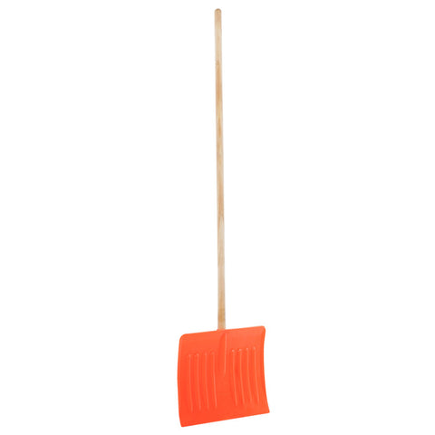 Snow pusher shovel with wooden pole