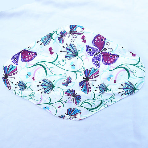 "Cloth Pad Charcoal 14"" ""Purple Butterflies"""