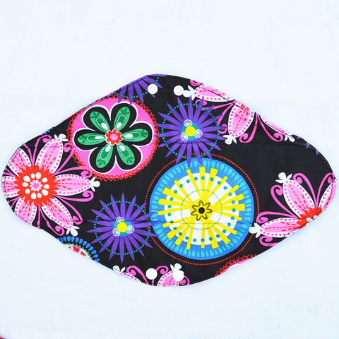 "Cloth Pad Charcoal 14"" ""Neon Flowers"""