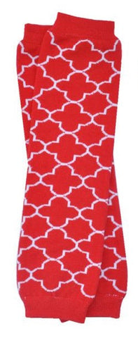 "Baby Leg Warmers ""White Moroccan on Red"""""