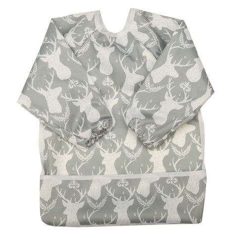 "Sigzagor Long Sleeve Bib ""Deer on Grey"""