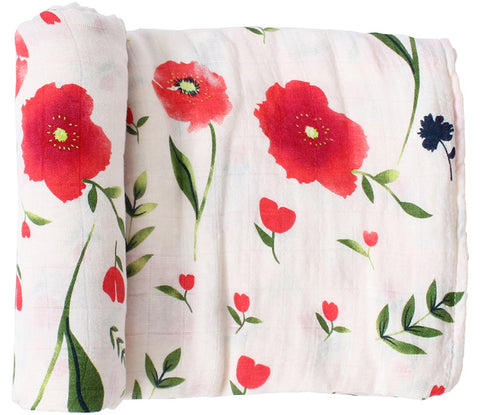 "Bamboo/Cotton Muslin Blanket ""Red Flowers"""