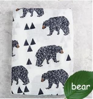"Muslin Swaddle Blanket ""Black Bears"""