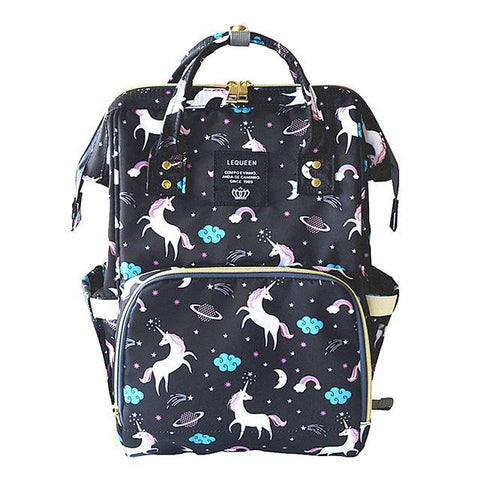 "Backpack Diaper Bag ""Black Unicorn"""