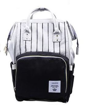 "Backpack Diaper Bag ""Black With Stripes"""