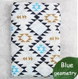 "Muslin Swaddle Blanket ""Blue Aztec"""