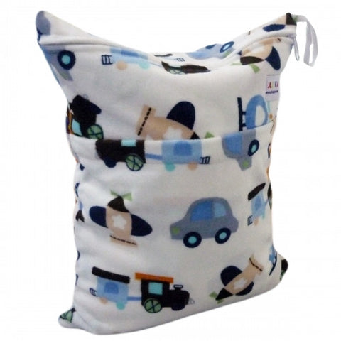 "Alva Travel Wetbag - ""Minky Blue Cars"""