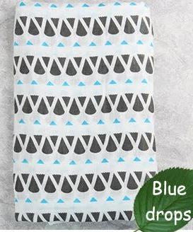 "Muslin Swaddle Blanket ""Blue Drops"""
