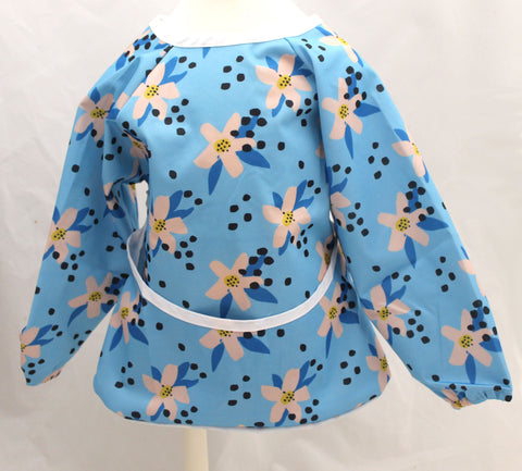 "Long Sleeve Full Bibs - ""Blue Floral"""