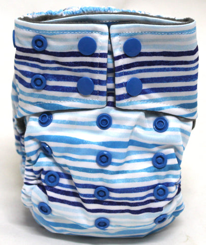"Happy Flute Newborn Charcoal All In One ""Blue Lines"" Printed Tab"