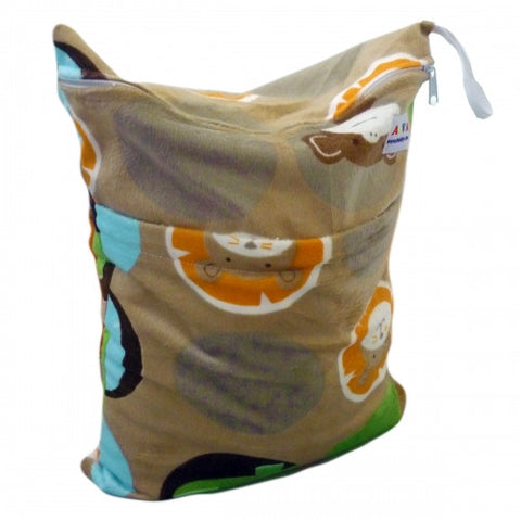 "Alva Travel Wetbag - ""Minky Brown Animals"""