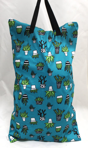 "Single Zipper Hanging Wetbag - ""Cactus on Teal"""