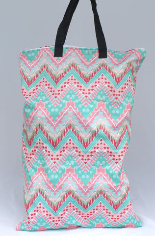 "Single Zipper Hanging Wetbag ""Pink and Teal Chevron Patterns"""