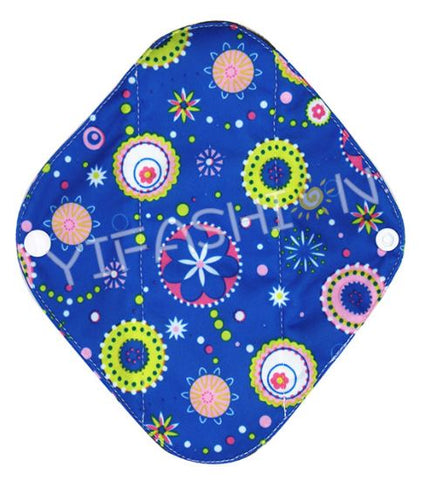"YiFashion Cloth Pad 8 Inch Charcoal ""Circles On Blue"""