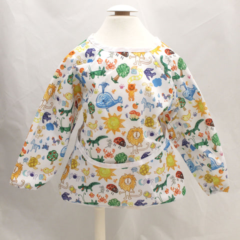 "Long Sleeve Full Bibs - ""Animal Drawings"""