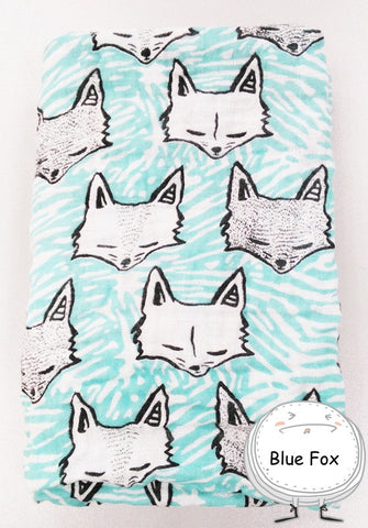 "Muslin Swaddle Blanket ""Teal Fox"""