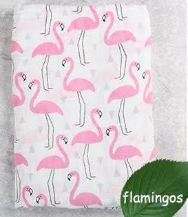"Muslin Swaddle Blanket ""Flamingos"""