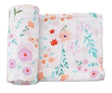 "Bamboo/Cotton Muslin Blanket ""Purple and Peach Flowers"""