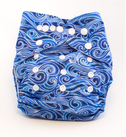 "Fluffy Penguin Pocket ""Blue Swirls"""