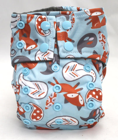 "Happy Flute Newborn Charcoal All In One ""Fox On Blue"" Printed Tab"