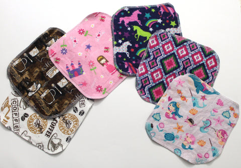 "Cotton Flannel Cloth Wipes ""Girl Patterns"""