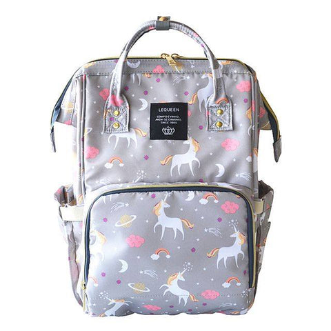 "Backpack Diaper Bag ""Grey Unicorn"""