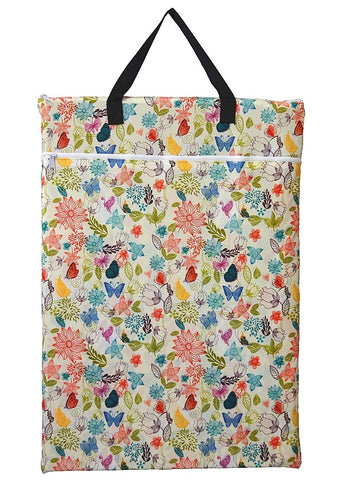 "Double Zipper Hanging PUL Wetbag - ""Ivory Flowers"""