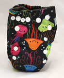 "Alva Newborn Charcoal All In One ""Neon Jellyfish"""