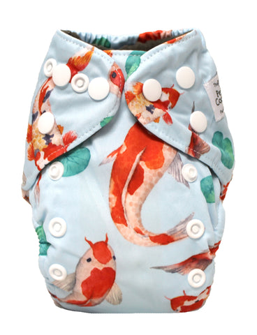 "Fluffy Penguin Newborn Charcoal All In One ""Koi Fish"""