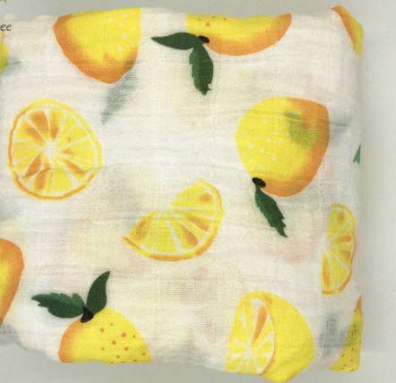 "Cotton Muslin Blanket ""Lemons"""