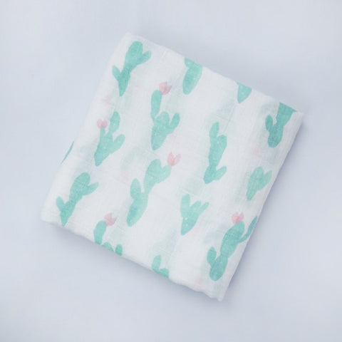 "Bamboo/Cotton Muslin Blanket ""Watercolor Cactus"""