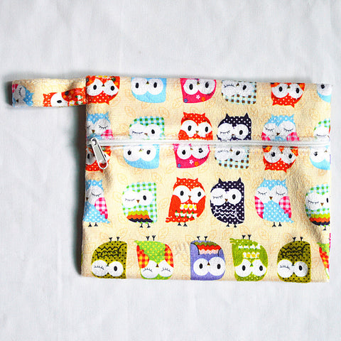 "Mini Wetbag ""Minky Tan Owls"""