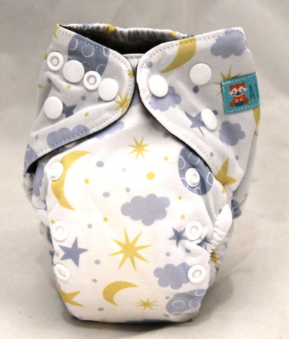 "Alva Newborn Charcoal All In One ""Moon and Stars"""