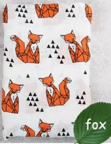 "Muslin Swaddle Blanket ""Orange Fox"""