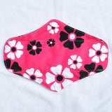 "Cloth Pad Charcoal 10"" ""Flowers on Pink"""