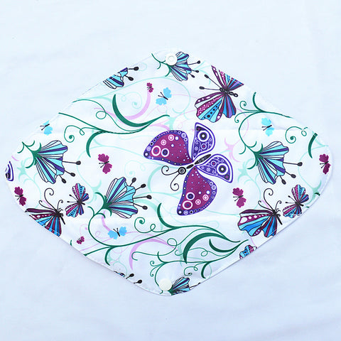 "Cloth Pad Charcoal 12"" ""Purple Butterflies"""