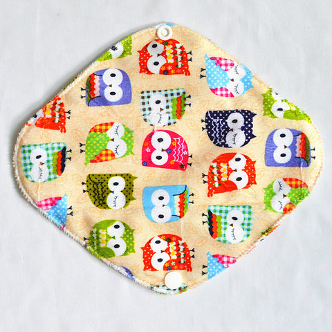 "Cloth Pad Bamboo 14"" ""Minky Tan Owls"""
