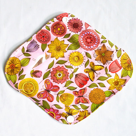"Cloth Pad Bamboo 8"" Liner ""Inked Flowers"""