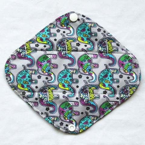 "Cloth Pad Charcoal 8"" Liner ""Paisley Elephants"""