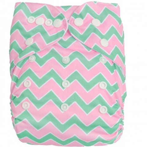 "Alva Pocket ""Pink & Green Chevrons"""